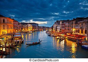 большой, канал, в, ночь, венеция