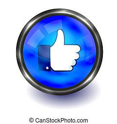 большой палец, редактировать, вверх, button., вектор, легко