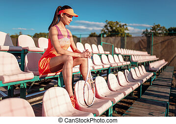 большой теннис, женщина, игры, открытый, воздух