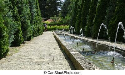 ботанический, фонтан, сад, каскадный