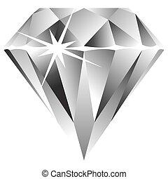бриллиант, против, белый