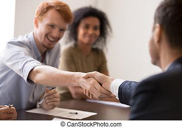 брифинг, счастливый, sharing, сотрудников, успех, руки, ...