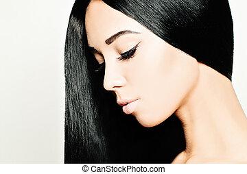 брюнетка, женщина, with, здоровый, черный, волосы