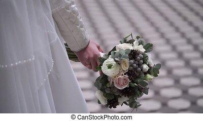 букет, невеста, молодой, свадьба