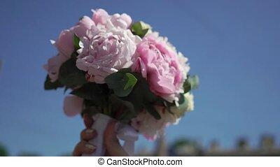 букет, розовый, свадебный, цветы