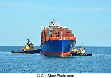 буксирное судно, assisting, корабль, грузовой