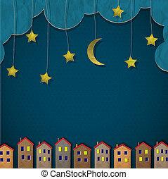 бумага, город, в, ночь