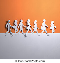 бумага, изобразительное искусство, -, группа, of, гулять пешком, люди
