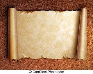 бумага, старый, curled, свиток, edges