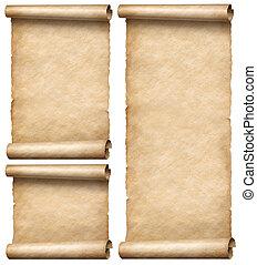 бумага, scrolls, старый, isolated, белый, вертикальный, задавать