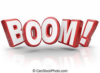 бум, 3d, слово, взрывной, рост, увеличение, sales,...