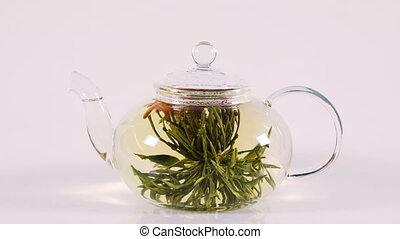 бутон, белый, зеленый, над, заварочный чайник, китайский,...