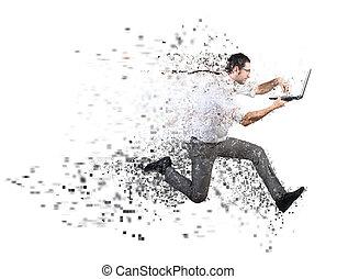 быстро, интернет, подключение, концепция, with, бег, бизнесмен