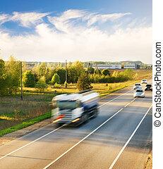 быстро, перемещение, легковые автомобили