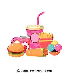 быстро, питание, коллекция, красочный, иллюстрация