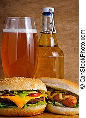 быстро, питание, and, пиво
