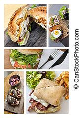 быстро, питание, and, hamburgers