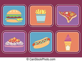 быстро, питание, icons, иллюстрация