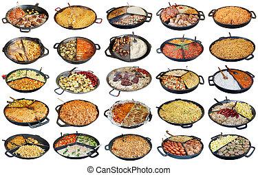 быстро, улица, домашний, питание, в, большой, frying, pans, isolated, задавать