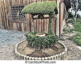 вал, artesian, деревянный, что ж, водить машину, воды, сад