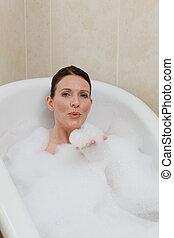 ванна, женщина, принятие, красивая