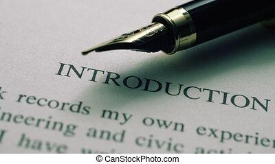 введение, текст, ручка, фонтан
