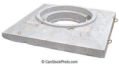 вверх, часть, of, бетон, воды, углубления, на, белый