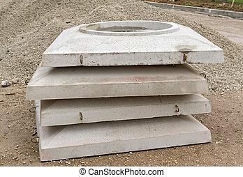 вверх, часть, of, бетон, воды, углубления