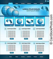 веб-сайт, шаблон, дизайн, синий