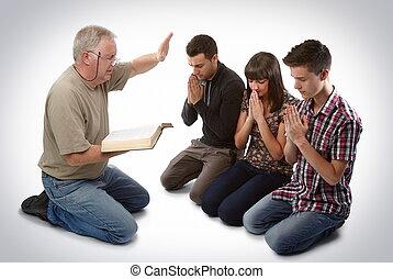 ведущий, три, люди, к, христос