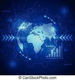 вектор, абстрактные, глобальный, будущее, технологии, электрический, telecoms, задний план