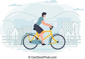 вектор, баннер, шаблон, with, человек, на, , bike.
