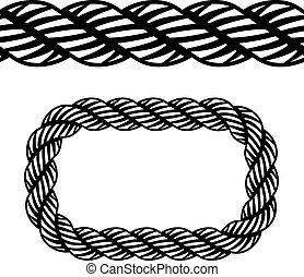 вектор, бесшовный, черный, канат, символ