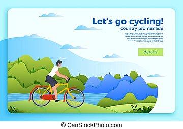 вектор, велосипед, поездка, баннер, with, человек, на, байк