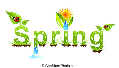 вектор, весна, слово, концепция