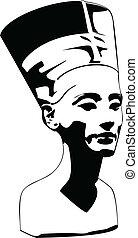 вектор, глава, of, нефертити