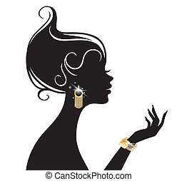 вектор, женщина, иллюстрация, красота