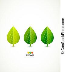 вектор, зеленый, концепция, лист