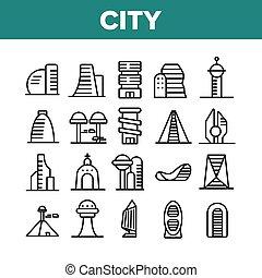 вектор, коллекция, здание, современное, icons, город, задавать