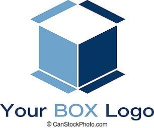 вектор, минимальный, логотип, дом, коробка