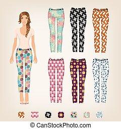 вектор, наряжаться, бумага, кукла, with, an, ассортимент, of, patterned, брюки