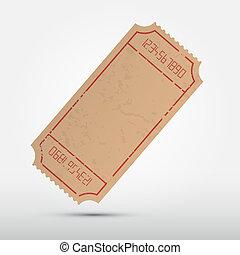 вектор, пустой, билет, иллюстрация, isolated, на, серый,...
