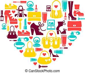 вектор, сердце, задавать, люблю, icons, -, women's, мода, поход по магазинам