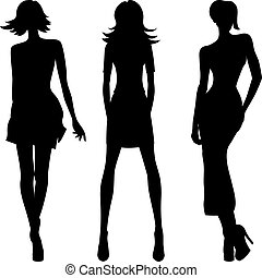 вектор, силуэт, of, мода, girls, вверх, models