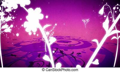 вектор, цветы, 6, петля