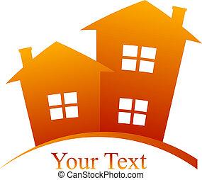 вектор, houses, значок