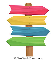 вектор, of, деревянный, маршрут, знак