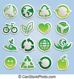 вектор, stickers, экология, задавать