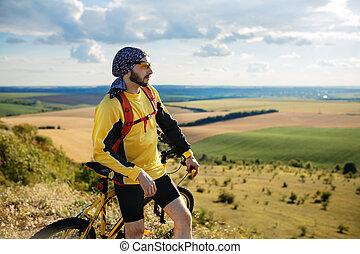 велосипедист, верховая езда, байк, на, от, дорога, к, , закат солнца