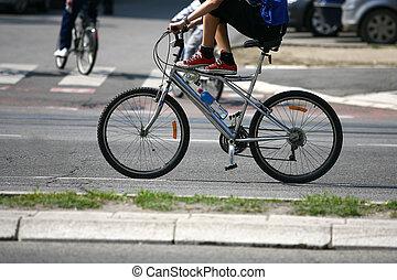 велосипедист, верховая езда, байк, на, an, открытый, дорога